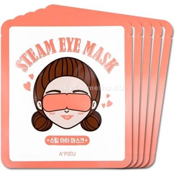 Расслабляющая маска для уставших глаз APieu Steam Eye MaskДлительные поездки и ритмичный образ жизни негативно отражаются на нежной коже вокруг глаз. В результате она становится менее упругой, появляются темные круги под глазами и мелкие морщинки.<br>Помочь восстановить кожу и вернуть ей прежнее сияние и тонус может маска – патч от корейского бренда APieu. В набор входит 5 масок Steam Eye Mask, которые легко наносятся и не требуют смывания. Маска пропитана специальным растительным эликсиром, активные компоненты которого мгновенно проникают в глубокие слои дермы и запускает процессы восстановления изнутри. Кожа моментально выглядит отдохнувшей и освеженной, цвет заметно улучшается, уменьшается отечность и темные круги. Кроме того маска решает проблему жирного блеска кожи век. Средство не занимает много места в сумочке и поможет привести себя в порядок в любое время, в самолете или длительной командировке, Вы будете выглядеть свежо и ухоженно. Средство подходит для ежедневного использования в уходе за любым типом кожи и возрастной категории. Маска действует посредством нагревания и помогает коже расслабиться. Температура нагрева маски происходит постепенно и не вызывает перегревания кожи.Объём: 5 шт.Способ применения:Извлеките продукт из упаковки и наложите маску на глаза, зафиксировав ее на ушах как ночную повязку. Оставьте на 15 – 20 минут, после чего снимите средство.<br>