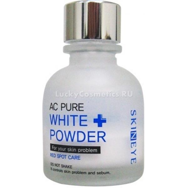 Skineye Ac Pure White PowderМы привыкли считать, что пудра относится к декоративной косметике, а ее предназначение - маскировать изъяны кожи и выравнивать цвет лица. Но существует и пудра с уходовым предназначением, как, например, White Powder от Skineye, настоящая находка для девушек с проблемным типом кожи.<br><br><br>Продукт обладает двухфазной структурой, сочетая в себе как порошок, так и жидкость. В основе формулы лежат кислоты, азелаиновая и салициловая, известные своими антибактериальными, подсушивающими и отшелушивающими свойствами. Благодаря их мягкому воздействию, воспаления проходят гораздо быстрее и не образуется пятен постакне, с которыми очень трудно бороться.<br>Присутствующие в составе масла чайного дерева и кипариса, лучшие антисептики, помогут быстро снять красноту и уменьшить прыщик в размере. Словом, пудру из серии Ac Pure можно назвать SOS-средством - смело наносите ее на недостаток, и проблема станет менее заметной уже через несколько часов!<br>Экстракты лопуха, алоэ и портулака защищают эпидермис от воздействия активных ингредиентов и предотвращают шелушения, сухость, зуд. Подсушивающая пудра для жирной кожи станет незаменимой помощницей и настоящей палочкой-выручалочкой. С ее помощью можно быстро привести лицо в порядок перед важным мероприятием, когда выглядеть нужно на все &amp;laquo;сто&amp;raquo;!<br><br><br>&amp;nbsp;<br><br>Объём: 20 мл.<br><br>&amp;nbsp;<br><br>Способ применения:<br><br>Аккуратно опустить в бутылочку с пудрой чистую ватную палочку и точечно нанести на воспаления. Не встряхивать перед использованием.<br>