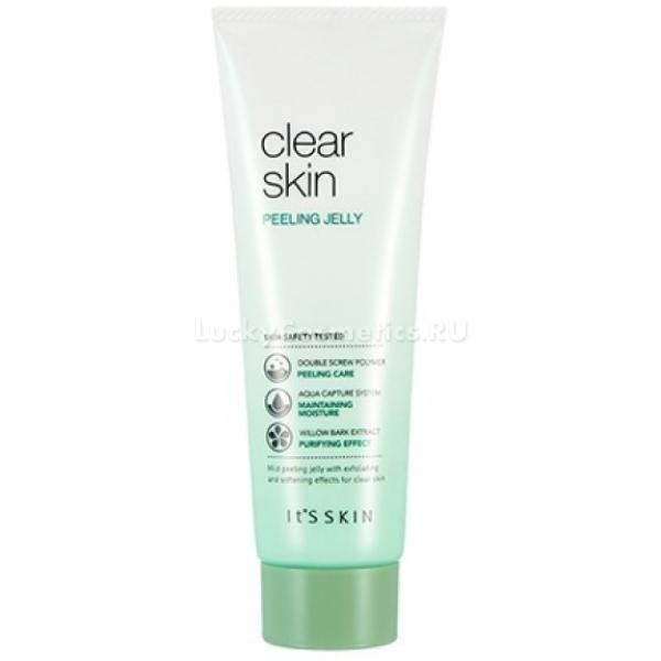 Its Skin Clear Clear Skin Peeling JellyМягкий очищающий гель – пилинг от корейского бренда Its Skin превосходно очищает, полирует и увлажняет кожу. Благодаря легкой текстуре продукт обеспечивает максимально длительный эффект чистых пор и предотвращает локальные высыпания. Натуральная основа средства не вызывает раздражения, сухости и покраснений кожи. Продукт с мельчайшими частицами мягко воздействует на сухие и отмершие участки кожного покрова, удаляет их и обеспечивает гладкость.<br>Благодаря инновационной технологии Aqua Capture System кожа мгновенно увлажняется и остается такой всегда, без эффекта жирности. Легкая текстура средства равномерно распределяется по лицу и деликатно раскрывает поры, выводит загрязнения и успокаивает раздражения.<br>Экстракт инжира смягчает сухую кожу, укрепляет стенки кровеносных сосудов, усиливает обмен веществ и активирует выработку проколлагена.<br>Экстракт коры черной ивы обладает мощным регенерирующим действием, мягко отбеливает тон, выравнивает рельефность и устраняет черные точки.Объём: 120 мл.Способ применения:Выдавите необходимое количество средства и распределите по влажной коже лица, помассируйте около 1 – 2 минут и умойтесь теплой водой.<br>