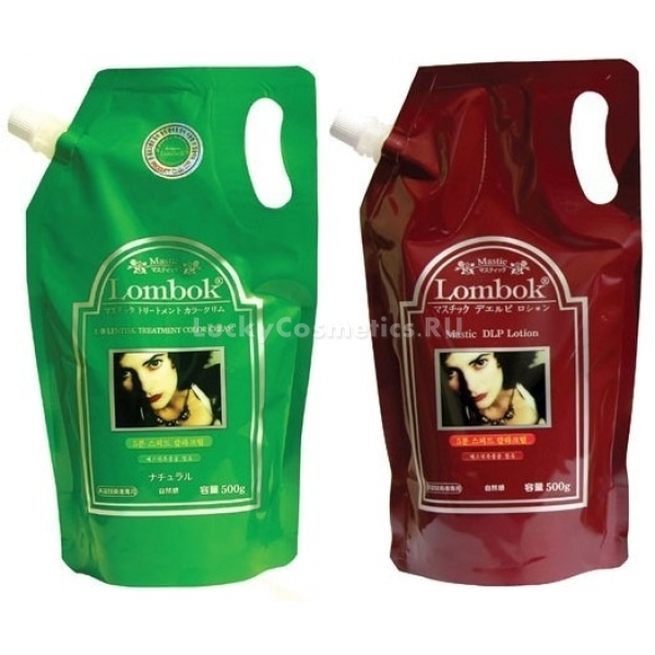Lombok Lentisk Treatment Color CreamСистема быстрого одновременного окрашивания и ламинирования Lentisk Treatment Color Cream от корейского бренда Lombok поможет ломким, тусклым и повреждённым волосам обрести здоровье. Соединение минерализованной и витаминизированной крем-маски (1 средство в зелёной упаковке) с кондиционирующими добавками Mastic Lotion (бордовая упаковка), запечатывающими волосы влагоудерживающей плёнкой, обуславливает в результате глубокое проникновение питательных веществ.<br><br>Средства производятся из натуральных гипоаллергенных компонентов и безопасны для волос и кожи.<br><br>&amp;nbsp;<br><br>Объём: 500*2 мл<br><br>&amp;nbsp;<br><br>Способ применения:<br><br>Перед использованием средств вымойте волосы с шампунем для жирных волос, чтобы избавиться от липидной прослойки. Далее средства смешайте в равной пропорции (примерно по 100 мл каждого, исходя из длины и густоты волос) и наносите на разделённые пряди волос по всей их длине. Окрашивание происходит примерно полчаса, затем потоком тёплой воды смойте средство с небольшой порцией того же шампуня. Высушивать волосы желательно естественным путём, но при необходимости от применения фена эффект не испортится. Двое суток после ламинирования бережно относитесь к волосам: оберегайте их от завивок, тугих резинок и грубых заколок.<br>