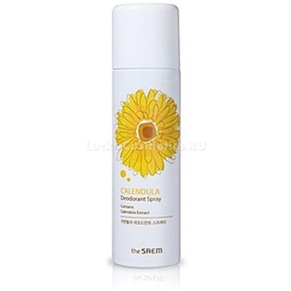 The Saem Calendula Deodorant SprayДезодорирующий спрей тонизирует и освежает кожу, не пересушивая ее и способствуя скорейшему заживлению царапин и раздражений после бритья. Его ненавязчивый природный аромат не нарушит парфюмерную композицию духов, которые вы обычно используете.<br><br>Микрокапельки спрея легко распределяются по коже и моментально впитываются, а активные ингредиенты в его составе проникают в клетки и стимулируют обменные процессы.<br><br>Экстракт календулы препятствует развитию микроорганизмов на поверхности кожи, которые зачастую и являются источником неприятного запаха. Натуральный UV-фильтр защитит нежные участки кожи от солнечного воздействия.<br><br>Экстракт корня солодки способствует снятию отечности, питает и смягчает кожу, делая ее шелковисто нежной на ощупьь. Его противовоспалительное действие позволяет успокоить покраснения кожи после бритья.Объём: 100 млСпособ применения:После банных процедур промокните кожу полотенцем и, спустя десять минут, когда остатки влаги окончательно испарятся, нанесите дезодорант на кожу.<br>