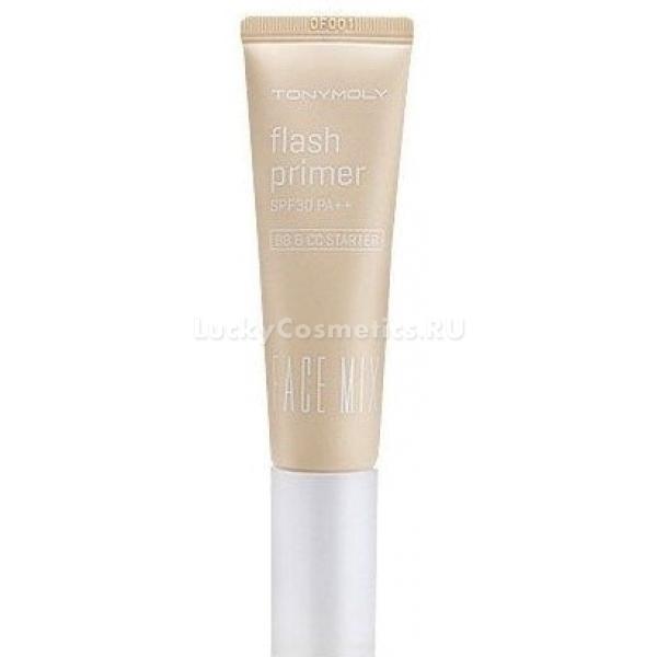 Tony Moly Face Mix Flash PrimerПраймер от Tony Moly создан специально для того, чтобы подготовить кожу к нанесению макияжа. Рекомендуется к применению перед нанесением BB и CC кремов, основы под макияж и других средств. Образует ровное сияющее покрытие, выравнивает кожный рельеф. Праймер защищает кожу от воздействия солнечных лучей, препятствуя появлению пигментных пятен. Содержит керамиды, минеральную воду, фитокомплекс и экстракт лотоса. Керамиды регулируют уровень влаги в кожных тканях, препятствуют образованию морщин, делают кожу нежной, упругой и шелковистой. Чистая вода с минералами интенсивно увлажняет кожу, питает и контролирует обмен веществ в тканях и восстановление клеток, очищает от токсинов. Экстракт лотоса придает свежесть коже, оказывает успокаивающее воздействие, активизирует регенерационные процессы. Подходит практически для всех типов кожи, в том числе сухой, жирной, комбинированной, при этом препятствует преждевременному старению и появлению морщин, сужает расширенные поры. Косметические средства, наносимые после праймера, значительно лучше ложатся и держатся значительно дольше.<br><br>&amp;nbsp;<br><br>Объём: 30 мл<br><br>&amp;nbsp;<br><br>Способ применения:<br><br>Кожу лица очистить, нанести праймер, после чего можно наносить макияж на лицо.<br>