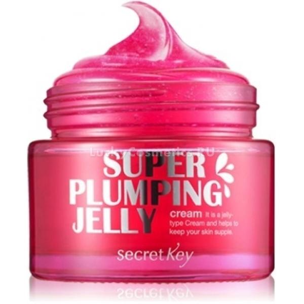 Secret Key Super Plumping Jelly CreamЭтот удивительно красивый крем сделает удивительно красивой вашу кожу. Он сочетает в себе 5 эффектов, которые и становятся основными слагаемыми здоровой привлекательности.<br>Итак, Super Plumping Jelly Cream, разработанный косметологами Secret Key, увлажняет кожу, добираясь до самых ее глубоких слоев, питает, дарит омоложение, осветляет пигментацию и возвращает здоровую эластичность.<br>Главный компонент удивительного желейного крема – это экстракт икры. Его забота – придание коже упругости, благодаря чему подтягивается овал лица, а морщинки разглаживаются.<br>Экстракты апельсина и брокколи оказывают поддерживающий омолаживающий эффект. Они также способствуют приданию коже упругости и приобретению ею здорового сияния. Кроме того, названные вытяжки делятся с кожей витаминами и минеральными веществами из собственного состава. А это – действенный коктейль, питающий и увлажняющий.<br>Аденозин и ниацинамид – тандем, осветляющий пигментацию, избавляющий от ярких веснушек.<br>А поддерживаются достигнутые эффекты бета-глюканом, веществом, замедляющим старение, служащим иммуномодулятором и замечательным антиоксидантом.<br>Применение крема, если оно регулярно, дарит комплексный уход за кожей и ее защиту.Объём: 50 млСпособ применения:Использовать желейный крем можно утром и вечером. Наносите как завершающую ступень ухода.<br>
