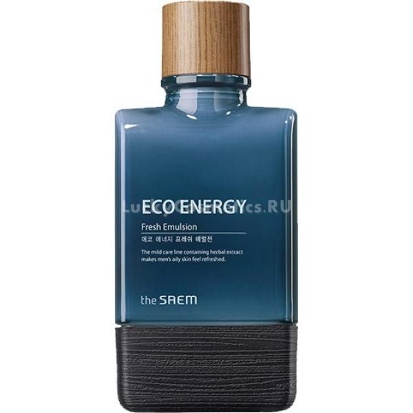 The Saem Eco Energy Fresh EmulsionИнновационная разработка косметологов бренда The Saem помогает преобразить уставшую раздраженную мужскую кожу лица. Приятная освежающая текстура позволяет увлажнить, смягчить и успокоить дерму. Высокая эффективность средства обусловлена богатым составом, включающим растительные омолаживающие компоненты.<br><br>Экстракты лаванды, чайного дерева, центеллы азиатской, ромашки, розмарина и фенхеля нормализуют работу сальных желез, устраняют сухость, успокаивают раздражения. Эти компоненты стимулируют процессы кровообращения, осветляют пигментные пятна, оказывают ранозаживляющее действие.<br><br>Легкая эмульсия при регулярном использовании защитит кожу от экологических стрессов, устранит усталость и сделает ее ухоженной и свежей. Ежедневный уход с этим средством позаботится о здоровье кожи, придаст лицу отдохнувший вид и продлит молодость.<br><br>Флакон средства оснащен удобным дозатором. Средство наносится на кожу легко, оставляя приятные ощущения.<br><br>&amp;nbsp;<br><br>Объём: 150 мл<br><br>&amp;nbsp;<br><br>Способ применения:<br><br>Нанесите на кожу небольшое количество эмульсии легкими похлопывающими движениями после тонера. Процедура повторяйте дважды в день: утром и вечером.<br>