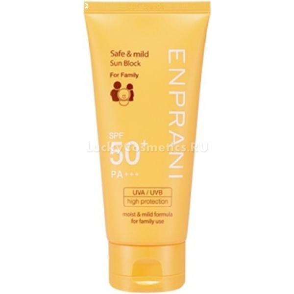 Enprani Safe and Mild Sun Block for Family SPFPAОбеспечьте своей коже защиту от опасного воздействия солнечных лучей, и она отблагодарит вас здоровым и красивым внешним видом. Крем корейского бренда разработан специально для защиты от интенсивного ультрафиолетового излучения.<br><br>Средство обладает суперлегкой консистенцией и отличается гипоаллергенной формулой. Оно может быть использовано даже для гиперчувствительной кожи. По заявлению производителя, крем в качестве эффективной защиты от солнечных ожогов можно применять для детской кожи.<br><br>В составе санблока содержатся экстракты лотоса, коры ивы, лилии. Природные компоненты успокаивают и увлажняют кожу, уменьшают расширенные поры и регулируют салоотделение. Высокое содержание в вытяжках аскорбиновой кислоты обеспечивает антиоксидантное действие крема.<br><br>Средство быстро впитывается в кожу, образуя защитную невидимую пленочку. Не оставляет после себя ощущения дискомфорта в виде липкости и жирности.<br><br>&amp;nbsp;<br><br>Объём: 70 мл<br><br>&amp;nbsp;<br><br>Способ применения:<br><br>Нанесите крем на тело за 20 минут до выхода на улицу, чтобы кожа успела полностью впитать в себя защитные вещества. Обновляйте защиту каждые 2 часа.<br>