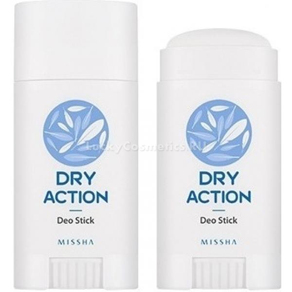 Missha Dry Action Deo StickОсновные действующие компонента дезодоранта &amp;ndash; диоксид кремния и лакричник надолго устраняют неприятные запахи и делают кожу идеальной на вид и на ощупь, не оставляя пятен на одежде.<br><br>Ухаживающие компоненты &amp;ndash; увлажняющий и осветляющий кожу огуречный экстракт и алоэ, который усиливает регенерацию клеток. Облегченная формула подходит даже для применения на чувствительной и гиперреактивной коже, не забивает поры и не провоцирует раздражения. В составе отсутствуют парабены, соли алюминия, искусственные отдушки.<br><br>&amp;nbsp;<br><br>Объём: 40 мл<br><br>&amp;nbsp;<br><br>Способ применения:<br><br>Дезодорант-стик применяют в подмышечной области для уменьшения неприятного запаха, смягчения кожи и профилактики ее потемнения. Использовать после каждого приема ванны или душа только на чистой коже после ее высыхания. Откройте флакон и проведите стиком по коже в подмышечных впадинах.<br>