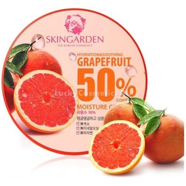 Berrisom Grapefruits  Moisture GelЛегкий балансирующий гель с фруктовым запахом, который можно применять для кожи и волос, - это Grapefruits 50% Moisture Gel &amp;ndash; косметический продукт, предложенный компанией Berrisom. Он аккуратно увлажнит кожу и локоны, подарит комфорт, а его аромат станет незаменимым атрибутом лучшего вашего образа.<br><br>Формула геля обогащена вытяжкой грейпфрута. Этот компонент подходит для кожи и волос, склонных к жирности. Он удаляет излишки сальных выделений, при этом не пересушивая ткани. Кроме того, этот экстракт удаляет пигментацию и питает кожу, одаривая ее витаминами.<br><br>Вытяжка из семян амаранта помогает насытить клетки кожи живительным кислородом. Она усиливает питание и дарит здоровье.<br><br>Вытяжка из цветной капусты &amp;ndash; тот ингредиент состава, который отвечает за защиту кожи и волос от внешних воздействий. Она помогает восстановить уже поврежденные клетки, а вместе с тем и омолаживает.<br><br>Гиалуроновая кислота дарит увлажнение. Она будто запирает воду внутри и оставляет ощущение комфорта.<br><br>Этот универсальный гель вы можете использовать не только для тела. Он будет полезен также вашим волосам, коже лица и рук.<br><br>&amp;nbsp;<br><br>Объём: 300 мл<br><br>&amp;nbsp;<br><br>Способ применения:<br><br>Нанесите состав на лицо как завершающий этап ухода. Далее дайте ему впитаться и начните накладывать макияж. Как маску оставьте гель на 20 минут, потом удалите остатки косметической салфеткой. Как маску для волос выдержите гель на волосах 15 минут после мытья головы. Как крем для тела нанесите средство после купания, а как ухаживающий состав для рук &amp;ndash; на сухую кожу.<br>