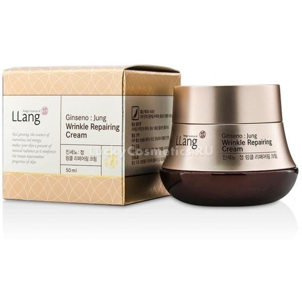 Llang Ginseno jung Wrinkle Repairing CreamАнтивозрастной крем, который позволит быстро и надежно избавиться от морщин. Эффективно очищает кожу, удаляя загрязнения и ороговевшие клетки, обновляет эпидермис, питает и увлажняет его. Значительно минимизирует образование мелких линий.<br>Основа состава – красный женьшень. Он помогает организму синтезировать коллаген, который делает кожу более упругой и эластичной. Гинзенозиды снижают усталость и способствуют регенерации клеток. Кроме того, крем ликвидирует лишние свободные радикалы, поскольку был обогащен антиоксидантами. Защищает кожу от преждевременного старения, так как создает барьер, препятствующий негативному воздействию агрессивной окружающей среды.Объём: 50 млСпособ применения:Нанести крем очень тонким слоем на поверхность кожи лица. Массировать легко от центра к контурам для лучшего впитывания.<br>