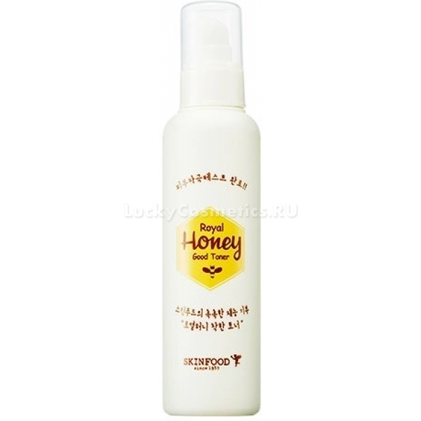 Skinfood Royal Honey Good TonerСредство обладает тонким медовым ароматом и легкой гелевой структурой, благодаря которой хорошо распределяется по коже, питая ее необходимыми витаминами.<br>Royal Honey Good Toner подходит для всех типов кожи, но особенно актуален для сухой и чувствительной. С легкостью убирает шелушения, хорошо увлажняет и поддерживает естественный водный баланс.<br>В составе тонера присутствуют следующие компоненты: маточное молочко, экстракты меда и ромашки. Средство НЕ содержит таких раздражающих кожу добавок как тальк, триклозан, триэтаноламин.<br>Маточное молочко стимулирует обменные процессы в клетках и обладает лифтинг-эффектом. Оно придает коже эластичность и упругость, предупреждает появление морщин, защищает кожу лица от вредных воздействий, исходящих  от внешней среды (холод, пыль, солнце и т.д.).<br>Экстракт меда богат витаминами (С, D) и полезными веществами (протеины, аминокислоты, антибактериальные вещества и многие другие). Они обеспечивают коже полноценное питание и увлажнение, активизируют восстановление и обновление тканей.<br>Экстракт ромашки обладает, антибактериальным, противовоспалительным и противоаллергическим действием. Он улучшает кровообращение в коже и насыщат комплексом минеральных и витаминов.Объём: 150 млСпособ применения:Протереть тонером лицо, предварительно умыв его водой.<br>