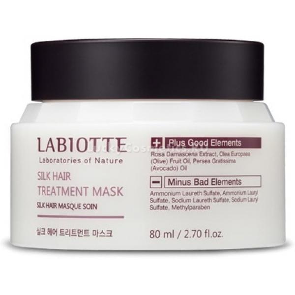 Labiotte Silk Hair Treatment MaskПрофессиональный уход за волосами доступен теперь каждому! Восстановить и придать волосам ухоженный вид поможет инновационный продукт от корейского бренда Labiotte. Маска не только восстанавливает травмированную структуру волос, но и защищает их от ломкости и выпадения.<br>Маска активно регенерирует поврежденные волосы, увлажняет кожу головы, предотвращая образование перхоти, и укрепляет корневые луковицы. Большое содержание питающих и восстанавливающих ингредиентов дают возможность молекулам средства проходить изнутри каждого волоска и активно регенерировать волосяные клетки.<br>Тающая текстура маски мгновенно восстанавливает, разглаживает поверхность волос и придает им необычайную шелковистость. Волосы становятся послушными, без признаков секущихся кончиков и «пушистости». Маска нежно обволакивает каждую волосинку и создает на поверхности локонов тонкую невидимую пленку, которая придает дополнительный объем без утяжеления.<br>Экстракт дамасской розы придаст волосам легкий цветочный аромат и предотвратит впитывание других запахов, таких как табак или продукты питания. Масло розы питает и увлажняет кожу головы, укрепляет корни и «спаивает» секущиеся кончики.<br>Экстракт авокадо предотвращает ломкость, сухость, вымывание цвета, придает волосам упругость и эластичность, локоны становятся ровными, податливыми и ухоженными.<br>Экстракт кокосового масла защищает структуру волос от потери влаги, укрепляет и увлажняет кожу головы, дарит ощущение свежести и комфорта.Объём: 80 мл.Способ применения:На мокрые волосы по всей длине массирующими движениями нанести маску, оставить на 15 - 20 минут. Эффект маски заметно усилится, если на волосы надеть термошапочку.<br>