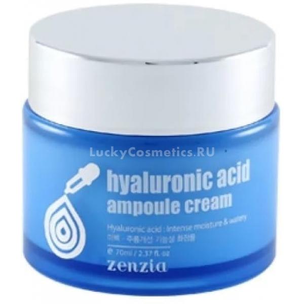 Zenzia Hyaluronic Acid Ampoule CreamКожа лица нежная и тонкая. И любые негативные факторы оставляют на ней отпечаток. Яркое солнце, сухой воздух, ветер, холод, загрязненный воздух уменьшают эластичность кожи, замедляют природные процессы восстановления. Ежедневное глубокое увлажнение и запуск нормальных обменных процессов может обеспечить новый продукт серии Hyaluronic Acid от компании Zenzia.<br><br>Гиалуроновая кислота &amp;ndash; природное вещество, которое вырабатывается нашим организмом и содержится в нашей коже. Оно помогает поддерживать баланс влаги и способствует естественной регенерации кожи. Когда ее количество начинает уменьшаться, сразу же начинается процесс старения.<br><br>Крем позволяет гиалуроновой кислоте проникнуть в самые глубокие слои эпидермиса и запустить природные восстановительные процессы. При регулярном использовании Ampoule Cream можно решить такие проблемы кожи:<br><br><br>повышенная сухость;<br>шелушения;<br>раздражения;<br>мелкие морщины;<br>недостаточная упругость.<br><br><br>&amp;nbsp;<br><br>Объём: 70 мл.<br><br>&amp;nbsp;<br><br>Способ применения:<br><br>Наносите крем после тщательного очищения кожи и обработки ее тоником или тонером. Также, желательно, предварительно нанести сыворотку или эссенцию. Это позволит компонентам крема глубже проникнуть в кожу. Распределите небольшое количество средства равномерным и тонким слоем по поверхности лица. Не нужно его активно втирать, движения должны быть легкими, массажирующими.<br>