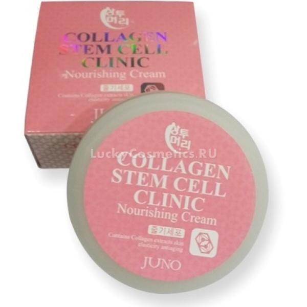 Juno Sangtumeori Stem Cell Clinic Nourishing Cream CollagenО стволовых клетках и коллагене слышала каждая женщина, которая задавалась вопросом &amp;ndash; как продлить свою молодость и улучшить состояние кожи. Тренд на молодость и красоту никогда не выходит из моды, и на протяжении столетий что только не делали женщины, чтобы выглядеть моложе и прекраснее. Современная наука постоянно предлагает все новые и новые способы добиться этого. Корейские косметические компании всегда следят за новейшими разработками. Не стала исключением и компания Juno, которая выпустила на рынок новое средство серии Sangtumeori Stem Cell Clinic.<br><br>Коллаген является природным компонентов нашей кожи. Он помогает поддерживать оптимальный баланс влаги в глубоких слоях кожи и сохраняет ее молодость. Стволовые клетки растительного происхождения стимулируют замедлившиеся процессы выработки коллагена и эластина, гиалуроновой кислоты.<br><br>Регулярное применение крема Nourishing Cream Collagen позволит решить такие проблемы кожи:<br><br><br>повышенная сухость и шелушения;<br>ранние проявления старения;<br>мелкие и глубокие морщины;<br>воспаления и раздражения;<br>недостаточная упругость.<br><br><br>&amp;nbsp;<br><br>Объём: 100 мл.<br><br>&amp;nbsp;<br><br>Способ применения:<br><br>Средство следует наносить на очищенную и обработанную тоником кожу. Нанесите небольшое количество крема ровным тонким слоем по поверхности лица. Движения должны быть легкими похлопывающими или массажирующими. Рекомендовано двигаться по массажным линиям. Не втирайте его полностью и позволите впитаться самостоятельно.<br>