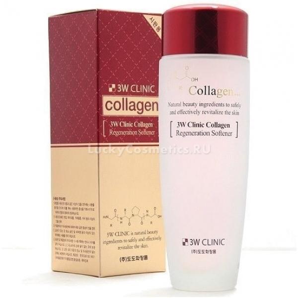 Восстанавливающий тонер для лица с коллагеном 3W Clinic Collagen Regeneration SoftenerС возрастом в клетках возникает дефицит коллагена, что крайне негативно отражается на красоте кожного покрова. Кожа становится менее эластичной, появляются морщины и даже дряблость. Предотвратить и замедлить ход старения кожи поможет уникальный тонер Collagen Regeneration Softener. Продукт разработан японскими специалистами компании 3W Clinic и помогает комплексно подойти к решению проблем.<br>Легкая питательная текстура средства мгновенно впитывается и не оставляет следов липкости и жирности кожи. Помогает контролировать работу сальных желез, деликатно отбеливает пигментацию, борется с мимическими и возрастными морщинами, устраняет сухость кожи после умывания. А щадящая формула средства помогает поддерживать оптимальный уровень кислотности и влажности кожного покрова. В результате кожа становится подтянутой, эластичной и сияющей.<br>Гидролизованные молекулы коллагена заполняют и выравнивают глубокие морщины, устраняют отечность тканей, осветляет темные круги в области глаз и дарит коже свежесть. Кроме того, предотвращает появление стянутости, сухости и шелушений, деликатно успокаивает раздраженную кожу в конце дня.Объём: 150 мл.Способ применения:На предварительно очищенную кожу нанесите при помощи смоченного спонжа или ватного диска средство и дождитесь его впитывания.<br>
