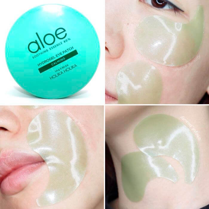Картинки по запросу Aloe soothing essence 80% hydrogel eye patch от фирмы Holika Holika