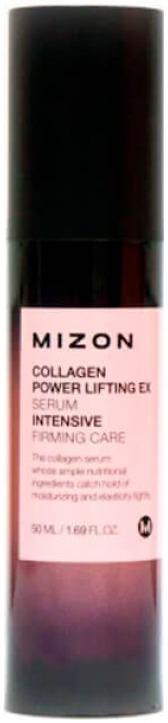 Mizon Collagen Power Lifting EX SerumАнтивозрастная сыворотка&amp;nbsp; Mizon практически на 70% состоит из чистого коллагена! Такое высокое содержание этого полезного белка позволяет сыворотке оказывать эффективную подтяжку лица.<br><br>Словно поворачивая время вспять, Lifting EX делает кожу моложе, уплотняет ее и разглаживает мимические морщины.<br><br>Морской коллаген, содержащийся в Collagen Power Serum, наиболее близок по составу к человеческому, соответственно &amp;nbsp;польза от него значительно выше, чем от растительного или животного коллагена.<br><br>Кроме того, сыворотка обогащена гидролизованной гиалуроновой кислотой, суть действия которой заключается в глубоком увлажнении, создании защитного барьера, препятствующего испарению влаги с поверхности кожи. Так же &amp;laquo;гиалуронка&amp;raquo; стимулирует выработку естественного коллагена &amp;ndash; залога молодости.<br><br>Натуральные масла, входящие в состав эликсира молодости от Мизон, делают действие сыворотки мягким и деликатным, питают и дарят приятный тонкий аромат.<br><br>Объём: 50 мл.<br><br>&amp;nbsp;<br><br>Способ применения:<br><br>Перед использованием сыворотки, лицо нужно очистить и высушить, а затем нанести сыворотку массажными движениями.<br>