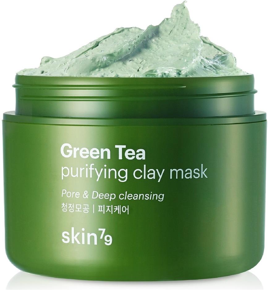 Skin Green Tea Purifying Clay MaskGreen Tea Mask - глиняная маска от бренда Skin79. Она предназначена для воздействия на всё лицо и избавления от многих видимых проблем. Так, маска поможет насытить кожу влагой, разгладить ее, очистить как снаружи, так и изнутри. Purifying Clay - это продукт, который проникает в глубокие слои и действует на кожу прямо оттуда. За счёт этого подтягиваются и очищаются поры, усиливается регенерация, кожа становится свежей, чистой и сияющей.<br><br>Ещё один важный компонент маски - зелёный чай, который оказывает успокаивающий, очищающий, защитный и тонизирующий эффект. Также он быстро избавляет от воспалений, шелушений и покраснений.<br><br>Аргановое масло в составе продукта хорошо питает и смягчает кожу, а цветочные экстракты тонизируют и придают лицу свежий вид.<br><br>&amp;nbsp;<br><br>Объём: 95 мл.<br><br>&amp;nbsp;<br><br>Способ применения:<br><br>Умыть лицо и нанести маску в один слой, избегая области вокруг глаз. Оставить на коже до 15 минут, а затем смыть водой или убрать влажными салфетками.<br>