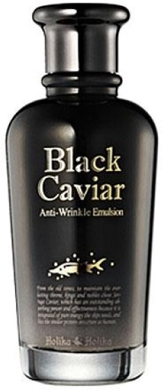 Holika Holika Black Caviar AntiWrinkle EmulsionЭмульсия оказывает интенсивное омолаживающее воздействие зрелую кожу, требующую особого ухода. Усиливает регенерацию клеток кожи, контролирует ее увлажненность, наполняет аминокислотами и белками, нейтрализует негативное действие токсинов и плохой экологической обстановки, уничтожает бактерии.<br><br>Структура эмульсии во многом сходна со структурой кожи, поэтому легко проникает в ткани, перенося питательные вещества глубоким слоям кожи. Черная икра оказывает мощное антивозрастное воздействие за счет высокого содержания витаминов, микроэлементов и аминокислот, которые стимулируют обменные процессы в коже. Лицо сияет свежестью и имеет подтянутый вид.<br><br>Неоценимое воздействие на перенос питательных веществ оказывают ионы золота, содержащиеся в эмульсии, а бриллиантовая пыль завершает сложную работу, придавая зрелой коже сияние молодости. Подходит всем типам кожи 40+.<br><br>&amp;nbsp;<br><br>Объём: 120 мл<br><br>&amp;nbsp;<br><br>Способ применения:<br><br>Очистите и тонизируйте кожу. Нанесите эмульсию легкими похлопывающими движениями не допуская растягивания кожи.<br>