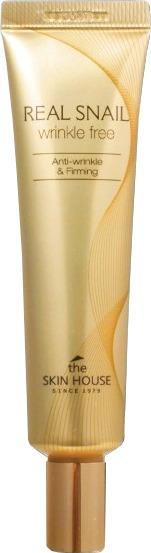 The Skin House Real Snail Wrinkle Free. От морщин поможет избавиться концентрированное средство &amp;ndash; Real Snail Wrinkle Free от Skin House. Его главный активный компонент &amp;ndash; улиточный экстракт, известный своими уникальными и удивительными целебными способностями.<br><br>Экстракт из слизи улитки обладает свойством в несколько раз повышать скорость процессов клеточной регенерации. Благодаря этому его эффекту, достигается сразу два полезных действия данного средства: заживление ранок и устранение морщин. Кожа поэтому выглядит более молодой, подтянутой и красивой. И более того, на ощупьь она становится бархатной и нежной.<br><br>Аденозин и фактор роста EGF оказывают комплексное воздействие, направленное на борьбу с морщинками и еще одним неприятным проявлением возраста &amp;ndash; пигментацией. Кроме того, в составе средства находится еще и гиалуроновая кислота &amp;ndash; интенсивно увлажняющая и поддерживающая данный эффект на протяжении действительно долгого времени.<br><br>Крем показывает и еще один предельно полезный эффект &amp;ndash; он помогает справляться с некрасивыми темными кругами под глазами, делая ваш взгляд сияющим и поистине притягательным.<br><br>&amp;nbsp;<br><br>Объём: 30 мл<br><br>&amp;nbsp;<br><br>Способ применения:<br><br>Наносить крем рекомендуется на проблемные зоны &amp;ndash; вокруг губ, глаз, на мимические морщинки. Распределите средство равномерно и позвольте ему впитаться.<br>