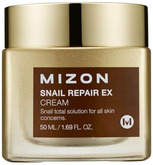 Mizon Snail Repair EX CreamВ Snail Repair EX Cream содержится рекордную концентрацию улиточного муцина &amp;ndash; 92%. Этот ингредиент известен своими эффективными восстанавливающими и тонизирующими свойствами. Действующие вещества слизи (гликолевая, гиалуроновая кислота, коллаген, аллантоин, эластин, пептиды) способствует нормальному течению естественных процессов в кожных покровах:<br><br><br>синтез коллагена;<br>обновление;<br>увлажнение;<br>питание полезными веществами;<br>заживление повреждений.<br><br><br>Крем спасает кожу от преждевременного увядания: подтягивает, осветляет, выравнивает микрорельеф, защищает от ультрафиолета и повышает сопротивляемость к действию болезнетворных бактерий.<br><br>&amp;nbsp;<br><br>Объём: 50 гр<br><br>&amp;nbsp;<br><br>Способ применения:<br><br>На подготовленную очищающими средствами кожу лица деликатными массирующими движениями нанести крем и подождать до полного его впитывания.<br>