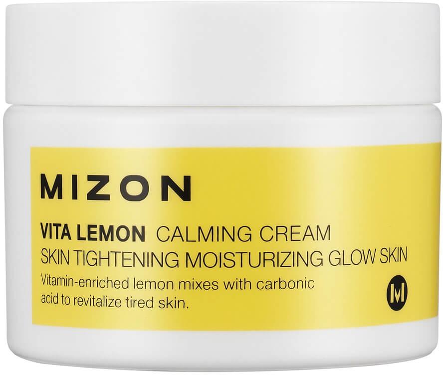Mizon Vita lemon calming cream  mlЛимонный крем Vita Lemon Calming Cream успокаивает раздражённую и поддерживает уставшую от стресса кожу, а также предотвращает проявления фотостарения. Он оказывает интенсивное отбеливающее действие, повышает эластичность и помогает оздоровиться коже, защищая покровы от воздействия свободных радикалов.<br><br>Экстракт лимона в тандеме с ниацинамидом блокирует синтез меланина в клетках эпидермиса, благодаря чему предотвращается возникновение новой пигментации.<br><br>Крем имеет лёгкий цитрусовый аромат и легко ложится на кожу, высыхая без остатков и жирной плёнки.<br><br>Запатентованный компонент<br><br>Витамин С не может просто так проникнуть через мембраны клеток кожи &amp;mdash; для этого требуется специальная молекула-транспорт, без которой даже концентрат аскорбиновой кислоты на коже не принесёт никакой пользы.<br><br>Специалисты Mizon внедрили в лимонный крем запатентованное вещество, транспортирующее витамин С в клетки, что значительно усиливает полезные свойства крема &amp;mdash; антиоксидант быстрее нейтрализует токсины и отбеливает кожу, в чём вы можете убедиться уже после нескольких применений.<br><br>&amp;nbsp;<br><br>Объём: 50 мл<br><br>&amp;nbsp;<br><br>Способ применения:<br><br>Регулярное использование лимонного крема предусматривает утреннее и вечернее нанесение средства на кожу тонким слоем. После нанесения крем должен высохнуть до конца, что происходит не очень быстро, зато формирует влагоудерживающую плёнку на поверхности эпидермиса, поэтому сверху можно смело накладывать макияж, так как это только поможет декоративной косметике прочно и незаметно лечь на кожу.<br>