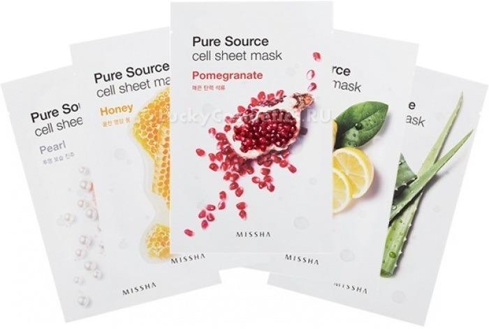 Missha Pure Source Cell Sheet MaskУникальная разработка косметологов корейских компаний &amp;ndash; тканевая маска. Это замечательный ухаживающий состав, нанесенный на основу из ткани, который проникает глубоко в кожу и практически мгновенно делает ее более красивой и здоровой. Pure Source Cell Sheet Mask от Missha не исключение. Маска буквально за считанные минуты наполняет дерму влагой и дарит мягкость и комфорт.<br><br>Средство представлено в нескольких вариантах, причем каждый из них имеет собственный действующий компонент.<br><br>Так, красный женьшень &amp;ndash; это омолаживающий, осветляющий и питающий кожу компонент. Маска на его основе подойдет коже возрастной, уставшей и нуждающейся в обновлении.<br><br>Чечевица делает кожу матовой, несколько ее осветляет.<br><br>Ягоды асаи &amp;ndash; компонент, направленный на защиту от негативных влияний. Маска на их основе полезна будет коже любого типа.<br><br>Рис &amp;ndash; компонент отшелушивающий. Он снимает ороговевшие частички кожи и делает ее бархатистой на ощупь и более молодой на вид.<br><br>Алоэ увлажняет и питает, защищает от потери влаги и появления шелушений и раздражений.<br><br>Манго разглаживает рельеф эпидермиса, осветляет, выравнивает тон.<br><br>Масло ши увлажняет, заживляет воспаления и интенсивно питает дерму.<br><br>Лотос борется с пигментацией и чуть осветляет веснушки.<br><br>Лимон оказывает отбеливающее действие и помогает бороться с акне.<br><br>Вытяжка из чайного дерева &amp;ndash; антибактериальный компонент, который избавляет от высыпаний. Такая маска полезна обладательницам проблемной кожи.<br><br>Жемчужные частички дарят коже красивое естественное сияние.<br><br>Бамбук интенсивно увлажняет.<br><br>Мед выравнивает микрорельеф кожи, делает ее мягкой. Маска на основе меда подходит девушкам с чувствительной кожей.<br><br>Гранат омолаживает и заживляет повреждения, поэтому маска с ним актуальна для возрастной кожи.<br><br>Из всего многообразия линейки вы можете выбрать одно средство и использ