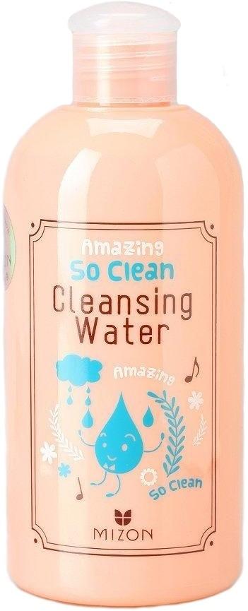 Mizon Amazing So Clean Cleansing WaterДемакияж &amp;ndash; один из важнейших этапов ухода за кожей, ведь остатки косметики на коже после неправильного демакияжа могут вызвать закупорку пор и спровоцировать высыпания. Какое средство оптимально подходит для снятия макияжа любой сложности и не вызывает аллергии на чувствительной коже?<br><br>Мицеллярная вода от Mizon &amp;ndash; идеальное средство для снятия декоративной косметики, имеет жидкую текстуру, но для идеального очищения достаточно даже небольшого ее количества.<br><br>Преимущества Mizon Amazing So Clean Cleansing Water для снятия макияжа<br><br><br>Универсальна &amp;ndash; подходит для любого типа кожи, даже чувствительной.<br>Эффективное очищение лица от любого вида макияжа &amp;ndash; тушь, тени, блеск, румяна, помада и тональная основа, включая ББ-крем и СС-крем.<br>Идеальное средство для деликатного удаления туши с нарощенных ресниц.<br>Отсутствие щелочи и хлора в составе средства делает возможным его использование для демакияжа гиперчувствительной кожи.<br>Не требует использования воды, поэтому идеальна для демакияжа в полевых условиях, во время длительных поездок или путешествий на природе, когда доступ к воде затруднен.<br><br><br>В отличие от многих других средств снятия макияжа, мицеллярная вода не нарушает липидный слой, потому что в ее составе нет ПАВ, оказывающих агрессивное воздействие на кожу. Это очень важное преимущество для тех, кто желает избежать преждевременного старения кожи.<br><br>Действие мицеллярной воды основано на физико-химических свойствах мицелл &amp;ndash; это крошечные капельки, которые образуют растворенные в воде сложные эфиры жирных кислот. Именно мицеллы деликатно эмульгируют загрязнения и косметику, оставляя кожу идеально чистой.<br><br>Мицеллярная вода многофункциональна &amp;ndash; она не только очищает кожу от декоративной косметики, но и выполняет функцию тонера &amp;ndash; обеспечивает длительный эффект увлажнения, успокаивает воспаления и восстанавливает PH кожи. Чт
