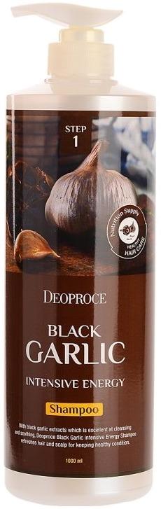 Deoproce Black Garlic Intensive Energy ShampooШампунь с черным чесноком Deoproce &amp;ndash; эффективный способ решения проблемы выпадения волос. Это средство подходит для всех типов кожи головы и волос, но особенно рекомендуется при проблеме ломкости и сухости. Благодаря содержанию экстракта черного чеснока в составе шампуня, средство питает, восполняет влагу, придает волосам живой блеск и восстанавливает структуру поврежденных и часто окрашиваемых волос. Питательные вещества ускоряют кровообращение кожи головы, тем самым возвращая к жизни луковицы и ускоряя рост волос. При регулярном использовании Black Garlic Intensive Energy на основе черного чеснока волосы всегда защищены от внешних воздействий, загрязнений современного города, сильных морозов и пагубного влияния солнечных лучей. Волосы становятся гладкими, блестящими и шелковистыми, предупреждается выпадение волос и преждевременное появление седины.<br><br>&amp;nbsp;<br><br>Объём: 200 мл. или 1000 мл.<br><br>&amp;nbsp;<br><br>Способ применения:<br><br>Небольшое количество шампуня Deoproce превратите в густую пену, нанесите средство на мокрые волосы. Массажными движениями очистите кожу и корни волос от загрязнений, смойте средство водой. При жирном типе волос можно повторить нанесение шампуня.<br>