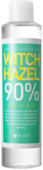Mizon Witchhazel  TonerРастительная серия от Mizon новое средство для ухода за вашей кожей &amp;ndash; тонер на основе натуральных ингредиентов с экстрактом гамамелиса и эфирным маслом леменграсса.<br><br>Полноценный уход за кожей обязательно включает в себя тонер, ведь это средство не только очищает поры и снимает загрязнения, с которыми не справилась пенка для умывания, но и освежает кожу, тонизирует и оказывает лечебное действие. Низкомолекулярные биологически активные вещества в составе тоника быстро включаются в обмен и усваиваются кожей, помогая ей оставаться здоровой и сияющей.<br><br>Кому понравится Mizon Witchhazel 90% Toner<br><br><br>Тем, кто отчаялся найти средство на основе натуральных компонентов, без парабенов, синтетических ароматизаторов и красителей. Запах этого тонера приятно порадует вас &amp;ndash; в нем нет назойливой &amp;laquo;химозности&amp;raquo;, которая нередко встречается у большинства других уходовых средств.<br>Девушкам, чья кожа испытывает стресс от резкой перемены климата &amp;ndash; будь то сезонные изменения в регионе или же особый микроклимат в офисе. С этим тонером кожа будет чувствовать себя комфортно и защищено весь день, ведь тонер от Mizon обладает еще и антибактериальными свойствами.<br>Обладательницы жирной и проблемной кожи оценят себорегулирующее действие тонера, благодаря которому ваша кожа будет оставаться матовой в течение всего дня.<br>Незаменимое средство для тех девушек, которые переживают из-за расширенных пор &amp;ndash; тонер с гамамелисом сужает поры и тонизирует кожу лица, а также способствует лимфооттоку, что значит &amp;ndash; никаких больше отеков на лице по утрам.<br><br><br>Действующие вещества тонера<br><br><br>В качестве основы для тонера, в которой растворены другие активные ингредиенты, используется гидролат гамамелиса, который обладает себорегулирующими свойствами, а также укрепляет сосуды. Таким образом, тоник незаменим не только для обладательниц жирной кожи, но и для тех, кто борется с куперозными 