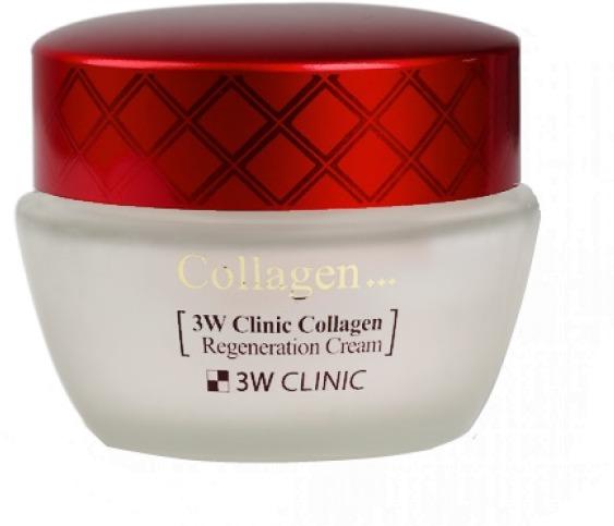 W Clinic Collagen Regeneration CreamВосстановить увядающую, тонкую и сухую кожу поможет инновационный крем от японского бренда 3W Clinic. Средство с приятной легкой текстурой мгновенно впитывается и не оставляет следов жирности, липкости и стянутости. Предотвращает образование шелушений, сухости кожного покрова. Питательная формула средства способствует захвату и прочному удержанию молекул в лаги в коже, не давая ей пересыхать даже в самый жаркий день. Средство создает на поверхности кожного покрова плотный защитный барьер, который препятствует образованию свободных радикалов, минимизирует негативное влияние UVA и UVB излучений. Высокая концентрация морского коллагена в средстве позволяет восполнить его дефицит в клетках и продлить молодость кожи. В результате постоянного применения продукта, кожа становится осветленной, сияющей и подтянутой, без признаков возрастных изменений.<br>Коллагеновые волокна насыщают травмированные клетки, восстанавливают гидро – липидный баланс, заполняют и разглаживают морщины.Объём: 60 гр.Способ применения:На предварительно очищенную и тонизированную кожу нанесите средство и распределите легкими похлопывающими движениями. Можно использовать в качестве базы под макияж.<br>