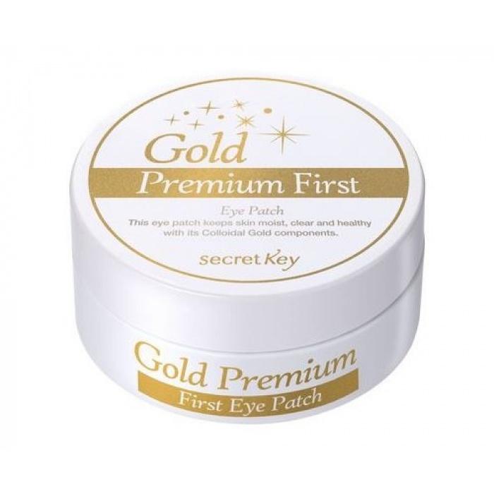 Secret Key Gold Premium First Eye PatchПатчи для кожи вокруг глаз First Eye Patch из люксовой серии Gold Premium избавят нежнейшую кожу от проявлений усталости. Темные круги под глазами, морщины, отеки и покраснения становятся меньше, незаметней и постепенно сглаживаются совсем, буквально излечивая и наполняя влагой тонкий и чувствительный эпидермис.<br><br>Благодаря коллоидному золоту питательные и полезные активные ингредиенты способны проникать сквозь мембраны клеток с утроенной скоростью, что значительно улучшает состояние кожи в короткие сроки. Кроме того, действие золота на этом не ограничивается, так как внутри клеток оно стимулирует обменные процессы, а на поверхности клеточных слоев надежно защищает от микроорганизмов. В отличие от других активных компонентов, коллоидное золото &amp;ndash; не сложная макромолекула, а простые ионы самого устойчивого металла, поэтому оно не разрушается под действием солнца и других физических факторов, поэтому действует непрерывно с накопительным эффектом.<br><br>&amp;nbsp;<br><br>Объём: 60 шт.<br><br>&amp;nbsp;<br><br>Способ применения:<br><br>Патчи нужно накладывать на предварительно очищенную и высушенную кожу вокруг глаз. От получаса до 40 минут они должны находиться на коже, затем их нужно аккуратно снять, а оставшуюся жидкость оставить или распределить вокруг глаз медленными и мягкими движениями. Лучше не смывать эссенцию, пока она полностью не впитается в кожу.<br>