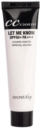 Secret Key Let me know cc creamLET ME KNOW CC Cream от Secret Key &amp;ndash; это новый СС-крем для лица, который обладает осветляющим эффектом и защищает Вашу кожу от пагубного воздействия ультрафиолета. Крем бережно заботиться о внешнем и внутреннем состоянии кожи лица, благодаря этому Вы сможете насладиться идеальным макияжем и профессиональным уходом одновременно.<br><br>&amp;nbsp;<br><br>Крем LET ME KNOW CC Cream:<br><br><br>создает ровный тон лица<br>возвращает коже здоровое сияние<br>выравнивает текстуру кожи, эффективно сглаживает мелкие морщинки и поры<br>убирает шелушение<br><br><br>&amp;nbsp;<br><br>Крем обладает мощными увлажняющими свойствами, поэтому юез труда справляется с сухой или нормальной кожей, сглаживает шелушение, высветляет кожу, снимает усталость и тусклость.<br><br>&amp;nbsp;<br><br>В составе крема 7 активных компонентов, в том числе гиалуроновая кислота, экстракт ромашки, алоэ, мяты и других полезных растений, которые моментально увлажняют и отбеливают кожу, выравнивают ее, поддерживает водно-липидный баланс в клетках кожи.<br><br>&amp;nbsp;<br><br>Крем содержит специальные капсулы с пигментом, который избавит Вас от тусклой кожи и серого цвета лица. При нанесении на кожу крем белый, благодаря цветным микрокапсулам, через пару мгновений он изменит цвет, полностью подстроившись под цвет Вашей кожи. Крем не только выравнивает тон кожи, но и бережно заботиться о ней, уже после нескольких приемов делает ее сияющей и чистой.<br><br>&amp;nbsp;<br><br>Объем: 30 мл<br><br>&amp;nbsp;<br><br>Способ применения:<br><br>Нанесите небольшое количество крема точечно на лицо, легкими, массажными движениями распределите его равномерно, подождите, пока он подстроится под тон Вашей кожи.<br>
