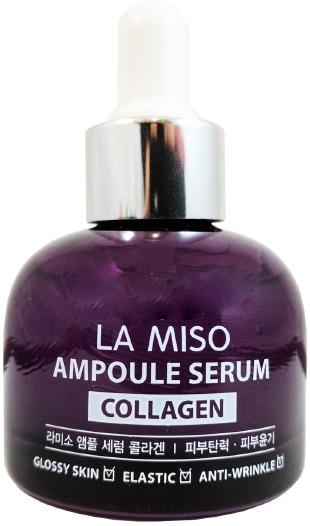 La Miso Ampoule Serum CollagenИнтенсивная сыворотка в удобной ампуле с содержанием жидкого коллагена Ampoule Serum Collagen от южнокорейского косметического бренда La Miso способствует эффективному омоложению лица, подтягиванию его контуров и разглаживанию морщинок.<br><br>Коллаген в составе средства имеет гидролизированную формулу, которая интенсивно наполняет кожу влагой, полезными веществами и препятствует возникновению морщинок и тусклости лица, возвращая коже эластичность. Он является мощнейшим омолаживающим компонентом.<br><br>Бифидобактерии способствуют повышению клеточного иммунитета. А содержащийся в сыворотке улиточный муцин заживляет и регенерирует поврежденные участки на коже.<br><br>Средство также содержит множество целебных растительных экстрактов, которые интенсивно успокаивают, наполняют минералами и витаминами, увлажняют, придают коже гладкость, бархатистость, сияние и защищают ее от губительного воздействия окислителей окружающей среды, вредных бактерий и микроорганизмов.<br><br>Удобная упаковка с пипеткой обеспечивает простоту в использовании.<br><br>&amp;nbsp;<br><br>Объём: 35 мл.<br><br>&amp;nbsp;<br><br>Способ применения:<br><br>Наносить на предварительно очищенную и тонизированную кожу. После нанесения рекомендуется воспользоваться кремом для лица.<br>