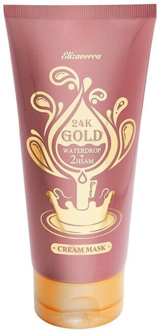Elizavecca K Gold Waterdrop Cream MaskНежная кремовая маска с уникальной технологией проникновения внутрь клеток Elizavecca 24K Gold Waterdrop Cream Mask подходит для сухой уставшей кожи с возрастными изменениями и неоднородным цветом лица.<br>Соприкасаясь с теплой поверхностью эпителия, крем-маска создает эффект росы, множество образовавшихся капелек воды с легкостью проникают в эпидермис и результат от использования маски не заставляет себя долго ждать.<br>Золото (24 карата), содержащееся в составе маски, является известным проводящим веществом, которое облегчает и ускоряет доставку полезных компонентов в глубины кожи. Кроме этого, золото обновляет роговой слой, улучшает микроциркуляцию, улучшая цвет лица.<br>Экстракт корневища красного женьшеня обладает антисептическими и антиоксидантными свойствами, питает клетки кожи, защищает от ультрафиолета и разрушения. Активирует строительные процессы белковых волокон коллагена.<br>Ниацинамид входит в состав многих масок и кремов, являясь настоящим борцом за красивую молодую кожу. Он делает тон светлее и ровнее, разглаживает заломы кожи, заживляет, обновляет клетки, подвергшиеся частичному разрушению и различным повреждениям.Объём: 150 млСпособ применения:На чистую кожу нанести крем-маску. По окончании 20 мин., удалить остатки средства при помощи салфетки.<br>