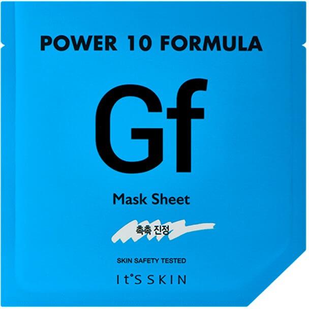 Its Skin Power  Formula GF Mask SheetМаска изготовлена на основе микрофибры, которая отличается своей мягкостью и отличной способностью к передаче полезных веществ коже. В состав упаковки Formula GF Mask входит сыворотка, которая усиливает действие маски. Вещество, которым пропитана маска, интенсивно увлажняет кожу, наполняет ее энергией, придает сияние, восстанавливает.<br><br>Уникальная вытяжка гриба Майтаке активизирует процессы регенерации клеток, а также имеет свойство уничтожать нездоровые клетки, богат витаминами B2, D2 и ниацин, а также минералами и другими ценными микроэлементами, которые эффективно насыщают кожу полезными веществами, увлажняют ее, защищают от негативных факторов.<br><br>Растительные экстракты трав в составе Power 10 Sheet делают кожу мягче, тонизируют, избавляют от воспалений, жирного блеска, обеззараживают ее. Лимон отбеливает, сужает поры, повышает кожный иммунитет и содержит богатый витаминно-минеральный комплекс для молодости кожи.<br><br>Коллаген делает кожу более упругой и эластичной.<br><br>&amp;nbsp;<br><br>Объём: 25 мл.<br><br>&amp;nbsp;<br><br>Способ применения:<br><br>После процесса очищения кожи открыть пакет с сывороткой, нанести на сухое лицо, после чего приложить маску. Держать 15-20 минут.<br>