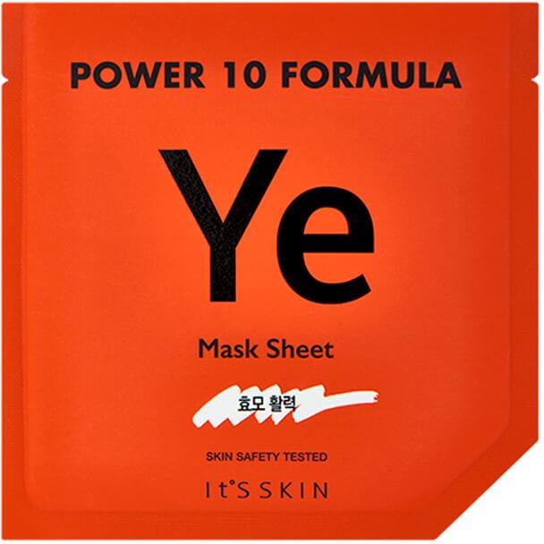 Its Skin Power  Formula Ye MaskЕсли обычные увлажняющие кремы не действуют и кожа стала сухой и уставшей &amp;ndash; на помощь придет увлажняющая маска от It&amp;#39;s Skin с экстрактом коричневого риса.<br><br>Это замечательное во всех смыслах растение не только спасает от голода большую часть населения земли, но и способно эффективно увлажнять потерявшую влагу кожу.<br><br>Помимо увлажнения, экстракты черного и коричневого риса способствуют отшелушиванию ороговевших клеток эпидермиса, обновляет и наполняет кожу жизненной силой. И как мощные антиоксиданты &amp;ndash; восстанавливают поврежденные клетки кожи, оказывают противовоспалительное действие.<br><br>Еще одним составляющим маски Power YE Mask является протеин сои. Он обладает выраженным анти-возрастным эффектом, омолаживает кожу, убирает темные круги и припухлости.<br><br>При регулярном применении этой маски из сери 10 Formula восстанавливается водный баланс кожи, она выглядит более свежей и молодой.<br><br>&amp;nbsp;<br><br>Объём: 2мл.*20 мл.<br><br>&amp;nbsp;<br><br>Способ применения:<br><br>Очистите кожу лица и зоны декольте от косметики, по возможности &amp;ndash; используйте пилинг. После обработки кожи тоником &amp;ndash; нанесите сыворотку из упаковки № 1 и распределите ее по направлению массажных линий. Затем распределите по лицу тканевую маску из упаковки № 2.<br><br>Рекомендуемое время воздействия &amp;ndash; до 20 минут.<br>