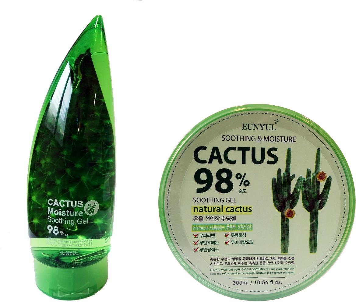 Eunyul Cactus Moisture Soothing GelКак известно, кактусы – очень стойкие растения, приспособившиеся выживать даже в знойных пустынях. Они на 90% состоят из воды и содержат в себе множество витаминов и минералов, активно использующихся в косметологии. Универсальный гель с экстрактом кактуса Eunyul Soothing Gel создан на основе сока опунции и идеально подходит для комплексного ухода за кожей, ногтями, волосами. Легкая водянистая текстура продукта Cactus Moisture быстро впитывается, мгновенно снимая зуд, устраняя чувство сухости и стянутости, сглаживая рельеф. Экстракт опунции замечательно защищает кожу от негативного действия, оказывает ранозаживляющее и успокаивающее воздействие, питает, увлажняет, придает упругость и свежесть. После регулярного использования геля Soothing Gel пропадает отечность и мешки под глазами, разглаживаются мелкие морщинки, исчезают шелушения и сужаются поры. Гель Cactus Moisture гипоаллергенный, а его ненавязчивый растительный аромат еле уловимый, и не раздражает чувствительные рецепторы, что позволяет использовать средство всей семье, включая детей. Одна баночка способна заменить множество косметики, что крайне удобно в путешествиях и поездках, а также экономит семейный бюджет.Объём: 300 мл.Способ применения:Нанести равномерным слоем на кожу лица и тела, руки, ногти или кончики волос.<br>