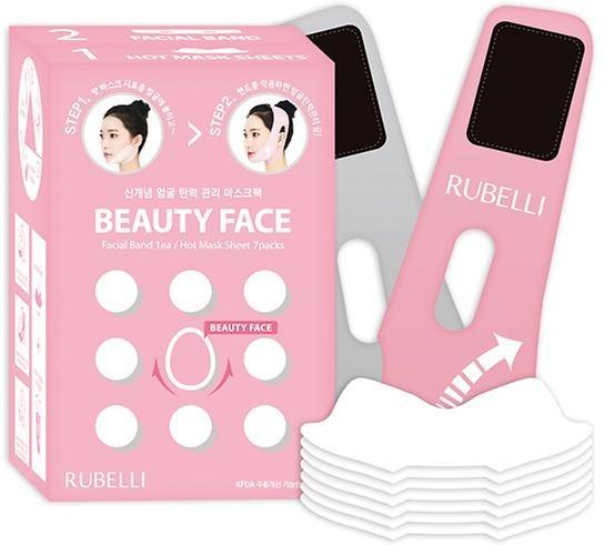 Rubelli Beauty FaceRubelli Beauty Face &amp;ndash; это набор специальных корректирующих масок, при помощи которых вы сможете самостоятельно смоделировать овал лица и устранить второй подбородок (или, предотвратить его образование).<br><br>При помощи этой разработки корейских косметологов к проблеме возрастных изменений можно подойти комплексно. Тканевые маски пропитаны специальным косметическим составом, содержащим природные ингредиенты и активные компоненты, направленные на снятие возрастных проявлений. Это масла и экстракты ромашки, плюща, оливы, аденозин, омолаживающий коэнзим Q10, подтягивающий комплекс Body Fit и специальное разогревающее вещество.<br><br>Неопреновый бандаж оказывает воздействует механически, тем самым закрепляя полученный от процедуры результат.<br><br>Соблюдайте меры предосторожности при использовании средства. Не оставляйте маску и бандаж на лице более чем на 1 час.<br><br>&amp;nbsp;<br><br>Объём: 7*20 мл + бандаж<br><br>&amp;nbsp;<br><br>Способ применения:<br><br>Тканевую маску следует накладывать только на сухую кожу лица. Разровняйте основу, а затем приложите к подбородку бандаж, вытяните его и зафиксируйте липучками сверху. Не затягивайте ремешок слишком сильно, но и не оставляйте его свободным, чтобы проявился эффект. Держать маску нужно 1 час. Затем бандаж и тканевая основа снимаются, а оставшаяся эссенция втирается в кожу.<br>
