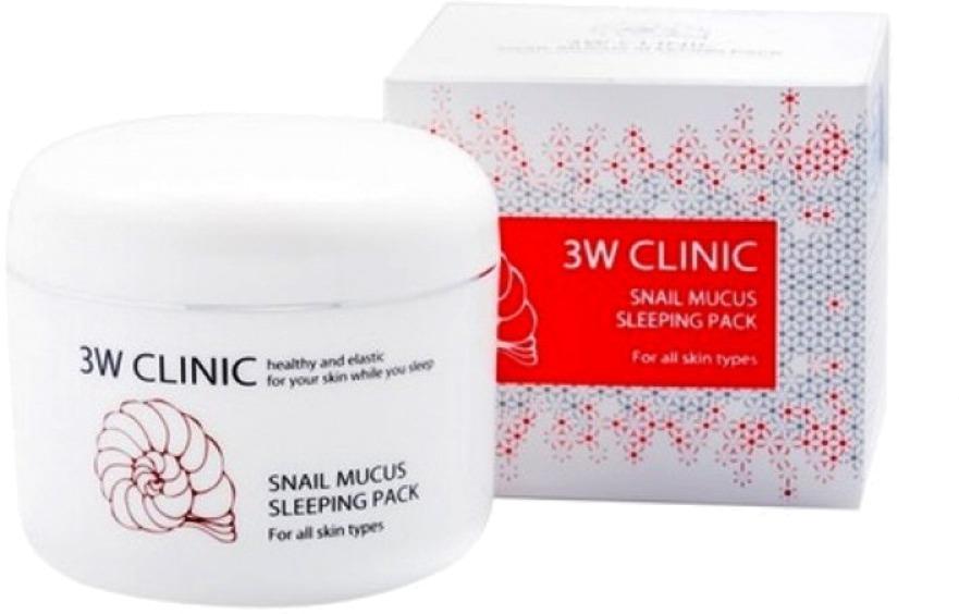 W Clinic Snail Mucus Sleeping PackЭто средство позволит каждой женщине побаловать свою кожу эффективным уходом и достичь ее безупречного вида! Маска обладает приятнейшей текстурой, богатым составом, а также экономичностью, благодаря чему является необходимой на женском туалетном столике. Комплексное ухаживающее действие продукта делает его универсальным для всех типов кожи, а в особенности для проблемного и увядающего. Ключевой ингредиент состава средства – улиточный муцин. Этот компонент обладает богатейшими восстанавливающими свойствами, в числе которых увлажнение, подтягивание смягчение эпидермиса, осветляющее, бактерицидное и разглаживающее действие, а также возвращение тонуса и эластичности. Воспользовавшись продуктом в течение определенного срока, вы сможете разгладить морщинки на лице, устранить пигментацию, прыщики и постакне, а также подтянуть  его контуры и вернуть здоровый оттенок. Безупречно красивая кожа – это реально, благодаря этой маске на основе экстракта улитки от корейской компании 3W Clinic!Объём: 100 млСпособ применения:Продукт необходимо применять на чистой и сухой коже, нанося его тонким слоем и оставляя для ночного воздействия.<br>