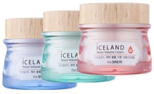 The Saem Iceland Hydrating Water Volume CreamКрем, в основе которого ледниковая вода Исландии, обогащенная минералами, нацелен на увлажнение кожи. Для этого в его &amp;laquo;золотой&amp;raquo; состав вошли также экстракты арктических ягод, исландского мха и водорослей.<br><br>О чистоте исландских вод давно известно всему миру. Вода фильтруется естественным путем, так как добывается из недр вулкана. Туда она попадает, стекая с тающих ледников. Исландская вода полна кислорода, который не пропадает даже после размораживания.<br><br>Одним из секретов крема, является технология, примененная при его создании. Она заключается в насыщении активных компонентов крема гиалуроновой кислотой, которая интенсивно разглаживает верхний слой кожи, после чего проникает вглубь, положительно влияя на эпидермис.<br><br>Естественно замороженные во льдах ягоды способствуют поддержанию тонуса кожи, передавая ей свою жизненную энергию и витамины.<br><br>Поистине ни на что не похожий компонент &amp;ndash; исландский мох. Он являет собой альянс водорослей и грибов, и хранит в себе ценные витамины и питательные элементы. Кроме того в нем заключены разнообразные функции: функция заживления, функция антисептика и антимикробная функция. Дело в том, что этот мох оказывает действие антибиотика.<br><br>В качестве источника минеральных веществ, аминокислот и полисахаридов выступают &amp;ndash; морские водоросли. Они не только наделяют кожу питательными веществами, но и успокаивают её, снимая стресс и покраснения. Морские водоросли &amp;ndash; это природный антиоксидант, а значит, благодаря им, клетки кожи обновляются, происходит спад отеков, выводятся токсины.<br><br>Для каждого типа кожи был созданы три разных крема из этой серии.<br><br>Минеральный увлажняющий крем отлично подойдет для комбинированной кожи, так как состоит из воды на 70 процентов. Гель-структура способствует легкому нанесению на кожу. Основные компоненты &amp;ndash; витамин Е, экстракт хвоща, черники, бурых водорослей, исландский мо