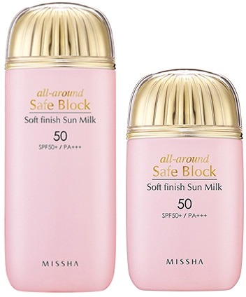 Солнцезащитная эмульсия SPF50 Missha All around Safe Block Soft Finish Sun Milk SPF50Солнечные лучи дарят множество положительных эмоций, но, увы, негативно влияют на состояние кожи. Из-за их вредного воздействия кожа начинает быстрее стариться, появляются первые морщинки, обезвоженность, веснушки и пигментные пятна. Бренд Missha позаботился о нашей коже, поэтому создал уникальный продукт &amp;ndash; солнцезащитную эмульсию с большим уровнем защиты от ультрафиолета SPF50, с помощью которой можно больше не бояться находиться на солнышке, опасаясь ожогов и других отрицательных последствий, ведь она служит эффективным защитным барьером! Несмотря на высокий фильтр защиты, эмульсия обладает достаточно легкой консистенций, которая мгновенно впитывается в кожу не оставляя белого налета и жирной пленки. Состав продукта обогащен экзотическими экстрактами каму-каму, гуавы, витамином С, бетакаротином и целебным соком алоэ-вера, обеспечивает не только высокую защиту кожи, но и позволяет одновременно ухаживать за ней, увлажняя, питая и успокаивая все слои эпидермиса. Средство является универсальным, поэтому может использоваться как для лица, так и всего тела.<br><br>&amp;nbsp;<br><br>Объём: 40 мл<br><br>&amp;nbsp;<br><br>Способ применения:<br><br>Средство необходимо наносить на участки кожи, более подверженные отрицательному действию ультрафиолета за 15 минут до выхода на улицу.<br>