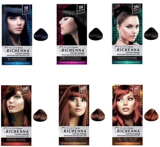 Richenna Color CreamПридать локонам особый лоск и ухоженность, при этом, не травмировав их, поможет инновационная крем - краска для волос с натуральными компонентами. Линейка красок превосходно оттеняет и закрашивает седые волосинки.<br><br>Активные компоненты краски не только тщательно окрашивают, но и бережно увлажняют и питают кожу головы. После использования крем &amp;ndash; краски не возникнет раздражения и перхоти. Кожа головы останется увлажненной и ухоженной.<br><br>Экстракт хны великолепно питает и защищает структуру волос от ломкости и пересыхания, тщательная многостадийная очистка хны не позволит придать волосам нежелательный теплый оттенок. Также в составе краски есть масло жожоба, которое увлажняет прикорневую зону, стимулирует рост волос, защищает волосы от вымывания цвета.<br><br>После окрашивания Вы получите максимально близкий цвет, который не навредит волосам и позволит насладиться результатом окрашивания до 4 &amp;ndash; 5 недель. В состав краски не входит летучий аммиак, поэтому краска не вызывает неприятного запаха и чувства жжения на коже головы. А благодаря кремовой структуре краску легко наносить даже в домашних условиях, при этом цвет ляжет ровно и аккуратно, как после посещения салона.<br><br>В набор с краской также входит защитная накидка, мисочка, кисточка для окрашивания, шампунь + кондиционер.<br><br>&amp;nbsp;<br><br>Объём: 60 мл. + 60 мл.<br><br>&amp;nbsp;<br><br>Способ применения:<br><br>Непосредственно перед нанесением на волосы смешайте 2 средства для окрашивания и равномерно нанесите на волосы, после 20 &amp;ndash; 30 минут выдерживания краски, волосы необходимо промыть шампунем и воспользоваться кондиционером для волос.<br>
