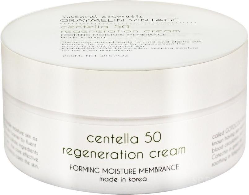 Graymelin Centella  Regeneration CreamВосстановить уставшую кожу в конце дня поможет инновационный крем от корейского бренда Graymelin. Средство Centella 50 Regeneration Cream обладает прекрасной восстанавливающей и увлажняющей формулой.<br><br>Ультрапитательная формула средства моментально проникает в глубокие слои клеток и насыщает их витаминами и микроэлементами изнутри. Средство ухаживает за сухой, уставшей и подвергшейся возрастным изменениям кожей. Натуральные растительные компоненты глубоко питают, активируют выработку природного коллагена и эластина, способствуют разглаживанию морщин. Крем не оставляет на поверхности кожи жирности или липкости, подготавливает ее к нанесению последующих декоративных или ухаживающих средств. Предотвращает пагубное влияние стрессов, УФ &amp;ndash; лучей солнца и сухого воздуха.<br><br>Экстракт центеллы обладает противомикробным и успокаивающим действием, способствует восстановлению гидро &amp;ndash; липидного баланса, выравнивает тон кожи.<br><br>Экстракт алоэ вера снимает раздражение и воспаление, устраняет следы постакне и пигментации.<br><br>Масло оливы бережно питает и увлажняет кожу, сохраняет молекулы воды внутри клеток, сохраняет природное сияние и гладкость.<br><br>&amp;nbsp;<br><br>Объём: 200 мл.<br><br>&amp;nbsp;<br><br>Способ применения:<br><br>Нанесите крем на предварительно очищенную кожу и легкими похлопывающими движениями распределите, и дайте впитаться.<br>