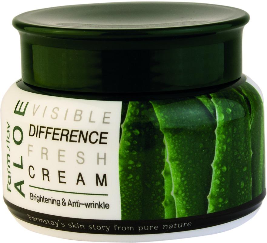 Farmstay Visible Difference Fresh Cream AloeКорейская система ухода за кожей лица предполагает использование самых разных средств, многие из которых нам не знакомы и непривычны, но от того – не менее эффективны и необходимы. Крем это классический продукт косметологии. Но вот их составы всегда различаются. Компания Farmstay разработала линейку средств Visible Difference, в основе которых натуральные экстракты.<br>Экстракт алоэ применяется в косметике и медицине на протяжении многих столетий. Его сок богат витаминами, антиоксидантами, минералами и другими питательными веществами. Широко известна его способность восстанавливать кожу, залечивать ранки, устранять кожные заболевания.<br>Регулярное применение крема Fresh Cream Aloe на основе экстракта алоэ поможет добиться таких результатов:<br>глубокое увлажнение;<br>отсутствие сухости и шелушений;<br>устранение воспалений и раздражений;<br>выравнивание тона лица;<br>минимизация возрастных проявлений.Объём: 100 мл.Способ применения:Наносите крем на завершающем этапе ежедневного ухода за кожей лица. Возьмите немного средства и распределите его ровным и тонким слоем по поверхности лица. Движения должны быть легкими и мягкими, похлопывающими. Не следует активно втирать крем, позвольте ему впитаться самостоятельно.<br>