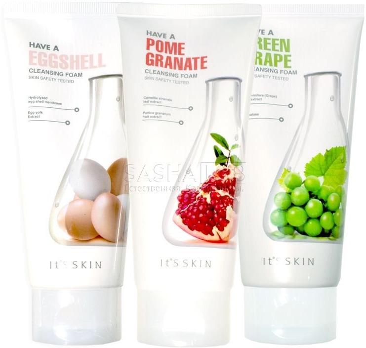 Its Skin Have Cleansing FoamПодарите своей коже невероятно нежное очищение при помощи легкой пенки от It&amp;#39;s Skin. Продукт деликатно удалит загрязнения, при этом не травмируя чувствительную кожу лица. Густая плотная пена окутывает кожу словно облако, а легкий аромат подарит незабываемые моменты. Благодаря активным питательным компонентам, средство глубоко проникает в дерму и активирует процессы обновления кожи на клеточном уровне. Щадящая формула средства не нарушает физиологический уровень pH и сохраняет кожу гладкой. Кроме того, средство помогает контролировать гидро &amp;ndash; липидный баланс кожи, дарит ей матовость и мягкость. Прекрасно справляется с высыпаниями, локальными покраснениями и шелушениями. Уже после первого использования кожа становится более эластичной, увлажненной и гладкой.<br><br>Пенка помогает поддерживать оптимальный уровень влажности клеток, предотвращает образование свободных радикалов и дарит коже упругость.<br><br>Уникальный комплекс жирных кислот помогает восстановить травмированные клетки, делая кожу подтянутой и тонизированной, деликатно устраняет пигментацию и следы постакне.<br><br>&amp;nbsp;<br><br>Объём: 150 мл.<br><br>&amp;nbsp;<br><br>Способ применения:<br><br>Выдавите необходимое количество средства и удалите макияж.<br>