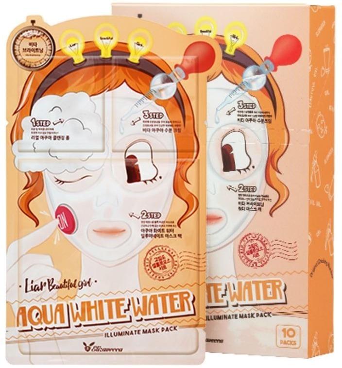 Elizavecca step Aqua White Water Mask PackПодарите своей коже сияние и взрывную энергию вместе с инновационной маской от корейского бренда Elizavecca. Всего за три шага Вы сможете вернуть сухой и тусклой коже прежнюю эластичность и сияние. Легкая текстура 3-step Aqua White Water Mask Pack мгновенно проникает в глубокие слои кожи и активирует процессы регенерации тканей. Активный состав средства заполняет и разглаживает уже существующие морщинки, предотвращает их новое появление, усиливает клеточное дыхание и осветляет. Наполняя кожу живительной влагой, продукт усиливает микроциркуляцию крови в клетках и дарит ей свежий и отдохнувший вид. Благодаря активным компонентам, продукт способствует выравниванию рельефностей, подтягивает овал и улучшает защитные функции клеток. Защищает кожу от негативного влияния ультрафиолета, температурных колебаний и стрессов.Объём: 25мл/2*2млСпособ применения:Шаг 1: извлеките из упаковки пенку и очистите кожу от макияжа.<br>Шаг 2: нанесите на кожу эссенцию и дождитесь ее впитывания.<br>Шаг 3: извлеките из упаковки маску и нанесите на кожу, тщательно расправляя складочки. Оставьте на 15 – 20 минут, после чего удалите. Остатки питательной эссенции распределите по коже лица и шеи.<br>