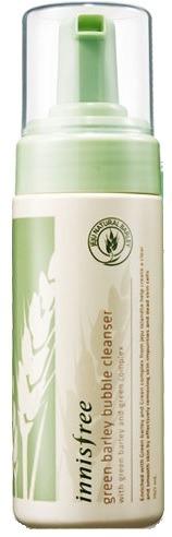 c    Innisfree Green Barley Bubble CleanserУмывание нежной воздушной пенкой с лёгким цитрусовым ароматом – то что нужно, чтобы взбодриться утром и расслабиться вечером. Микроскопические пузырьки эффективно очищаю кожу, «выталкивая» из неё загрязнения. Green Barley Bubble Cleanser от Innisfree содержит экстракт зелёного ячменя, выращенного в идеальных экологических условиях на южнокорейском острове Чеджу. Ячмень содержит витамины A, B1, B2, B6, C, D, E, несколько видов кислот и минеральные соли. Он улучшает кровообращение и активизирует обменные процессы, происходящие в эпидермисе, восстанавливает кожу и устраняет воспаления. Также в состав пенки входят экстракты камелии, орхидеи, опунции и зелёного чая. Они освежают и наполняют влагой клетки эпидермиса, защищают его от негативных воздействий окружающей среды. Благодаря удобному флакону с помпой Innisfree Green Barley Bubble Cleanser не нужно вспенивать.Объём: 150 мл.Способ применения:Несколько раз нажмите на помпу и выдавите на ладонь немного средства. Нанесите пену на влажное лицо и мягко помассируйте. Смойте тёплой или прохладной водой.<br>