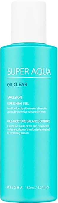 Эмульсия для жирной кожи Missha Super Aqua Oil Clear EmulsionЛинейка ультра питательных средств Super Aqua от Missha создана с учетом проблемной и чувствительной кожи. Легкая текстура средства мгновенно проникает в глубокие слои дермы, активирует процессы регенерации клеток и усиливает кожное дыхание. Приятная легкая текстура Oil Clear Emulsion мгновенно впитывается, увлажняет и приятно охлаждает кожу. Дарит чувство легкости и комфорта, стимулирует заживление тканей и разглаживает морщинки. Растительная формула средства способствует глубокому очищению пор, создает защитный барьер от негативного воздействия ультрафиолета и дарит коже матовость в течение всего дня.<br>Экстракт зеленого чая обладает антибактериальным, ранозаживляющим и регенерирующим действием. Успокаивает раздражённую кожу, восстанавливает физиологический уровень влажности и pH кожи, способствует устранению дискомфорта и сухости.<br>Экстракт гаммамелиса заполняет и разглаживает морщинки, помогает контролировать работу сальных желез, блокирует размножение бактерий и тонизирует уставшую кожу.Объём: 150 мл.Способ применения:На предварительно очищенную и тонизированную кожу лица нанесите несколько капель средства и распределите легкими похлопывающими движениями.<br>