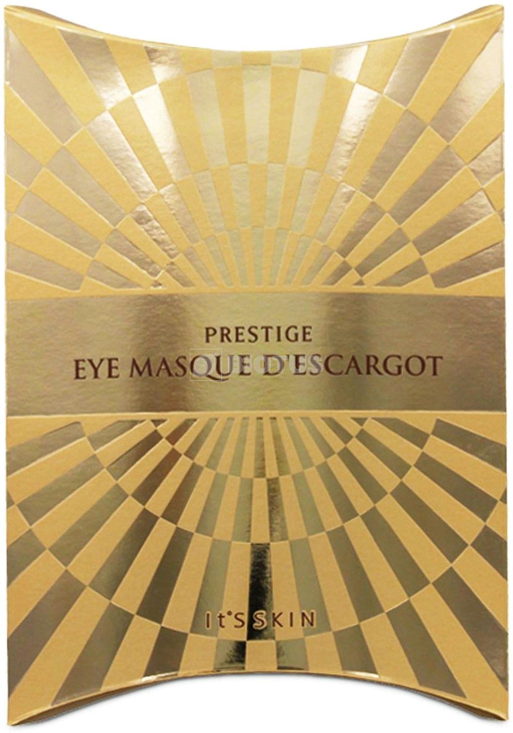 Its Skin Prestige Eye Masque DescargotВся сила улиточной слизи собрана в одной регенерирующей маске Prestige Eye Masque D&amp;#39;escargot от корейского бренда It&amp;#39;s Skin. Целебные свойства улиточного муцина до конца еще не изучены, однако, регенерирующие свойства этого компонента поражают. Глубоко воздействуя на кожу муцин активирует синтез коллагена, визуально подтягивает контуры и заполняет мимические и возрастные морщины. Помогает уменьшить глубину и выраженность даже очень глубоких морщин, делая кожу более привлекательной и сияющей. Натуральная тканевая основа маски выполнена из 100% хлопка, прилегая к коже он обеспечивает лучшее проникновение эликсира, сужает расширенные поры и успокаивает кожу. Комплексное действие продукта направлено не только на устранение, но и предотвращение раннего старения кожи. Помогает &amp;laquo;запечатать&amp;raquo; влагу внутри клеток, предотвращая ее обезвоживание. Создает на поверхности кожи защитный барьер, препятствующий проникновению ультрафиолета, ионов металлов и инфекций. Клинически доказано, при регулярном использовании продукта кожа становится более эластичной, упругой и тонизированной. Исчезают морщинки, пигментация и воспаления.<br><br>&amp;nbsp;<br><br>Объём: 65 гр.<br><br>&amp;nbsp;<br><br>Способ применения:<br><br>На предварительно очищенную и тонизированную кожу нанесите маску и тщательно расправьте все складочки. Оставьте на 15 &amp;ndash; 20 минут, после чего аккуратно удалите, а остатки питательной эссенции нежно вотрите в кожу.<br>