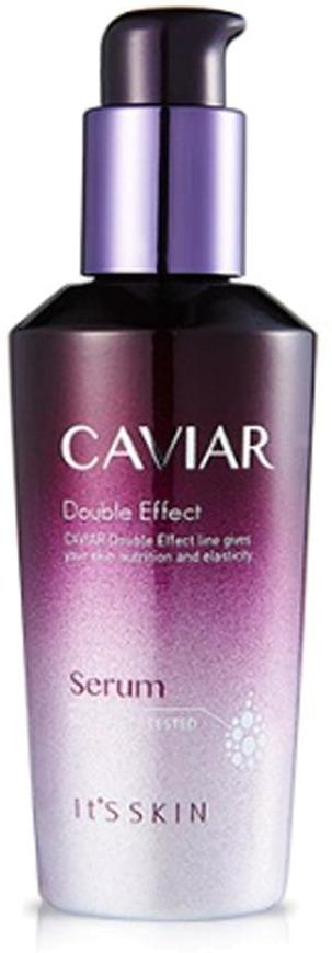 Its Skin Caviar Double Effect SerumПодарите своей уход премиального уровня вместе с питательной сывороткой Caviar Double Effect Serum от It&amp;#39;s Skin. Легчайшая текстура и высокая проницаемость продукта мгновенно запускают процессы регенерации тканей на клеточном уровне. Активные компоненты средства комплексно воздействуют на возрастные участки и замедляют старение клеток. Способствует деликатному осветлению тона. Сужает расширенные поры и дарит коже матовость и свежесть с ура и до позднего вечера. Средство заполняет и разглаживает морщинки, уменьшает их выраженность, блокирует распространение бактерий и дарит коже упругость.<br><br>Экстракт черной икры обладает мощным anti &amp;ndash; age эффектом, замедляет процессы деградации клеток, усиливает метаболизм и укрепляет местный иммунитет. Кроме того, икра способствует устранению темных кругов в области глаз, снимает отечность и освежает уставшую кожу.<br><br>Ниацинамид способствует увеличению церамидов в клетках, восстанавливает нарушенные защитные функции кожи и предотвращает обезвоживание. Деликатно отбеливает пигментацию, следы постакне и мелкие рубцы. Выравнивает тон кожного покрова и дарит коже эластичность и гладкость.<br><br>Экстракт корня солодки успокаивает, снимает раздражение и покраснение. Деликатно отшелушивает роговой слой клеток, усиливает микроциркуляцию крови в клетках и насыщает их ценными микроэлементами.<br><br>&amp;nbsp;<br><br>Объём: 40 мл.<br><br>&amp;nbsp;<br><br>Способ применения:<br><br>В завершающем этапе вечернего ухода нанесите на кожу 3 &amp;ndash; 4 капли средства и распределите легкими массирующими движениями по желаемым зонам действия.<br>