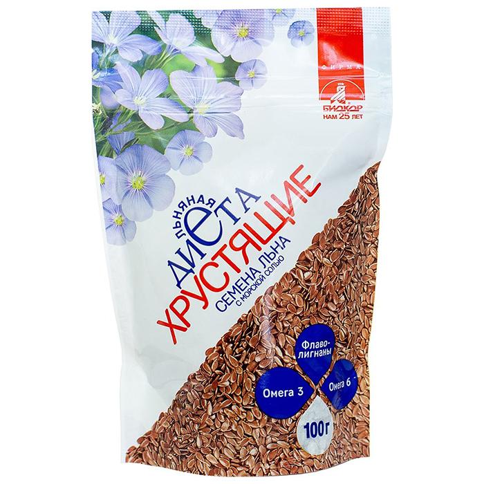БАД Биокор БАД к пище Семена льна хрустящие с морской солью